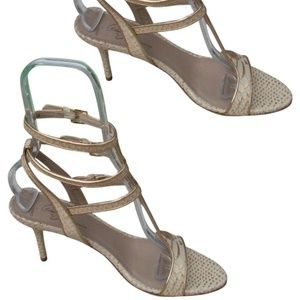 Donald J. Pliner Shoes - Couture Metallic Snake Leather Shoe New Strappy Sa